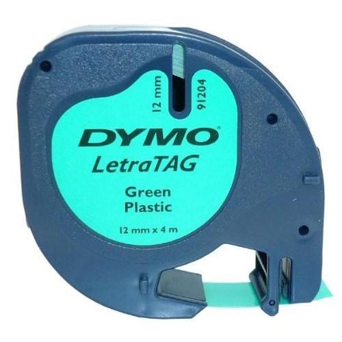 Banda Dymo Letratag DY91204 12mm plastic verde