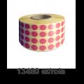 Role de etichete semilucioase rotunde, PANTONE 205, 10mm, 13.480 et./rola