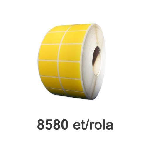 Role de etichete plastic autodistructibile galbene 50x32mm