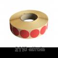 Role de etichete semilucioase rotunde rosii 17mm, 2110 et./rola