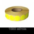 Role de etichete semilucioase rotunde galbene 35mm, 1090 et./rola