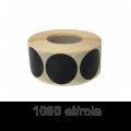 Role de etichete semilucioase rotunde negre 35mm